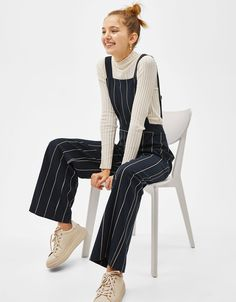 947ada3b2ab Long striped overalls - New - Bershka United States