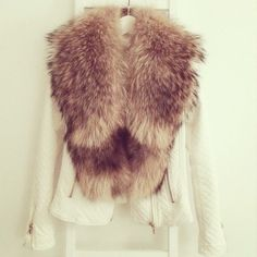 Whit leather & Nude fur ❤ ℒℴvℯ this jacket !