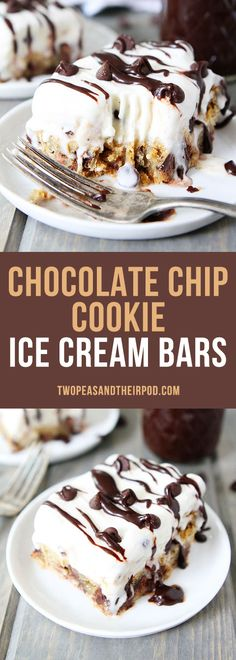 Chocolate Chip Cookie Ice Cream Bars have a chocolate chip cookie bar crust, cookie dough ice cream, and a drizzle of hot fudge. Chocolate chip cookie lovers will go crazy for this ice cream dessert.