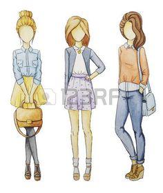 Modieuze meisjes zonder gezicht set. Tekeningen in potlood manier. photo