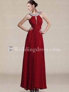 Floor length chiffon prom dress,Sexy Chiffon Halter Prom Dress