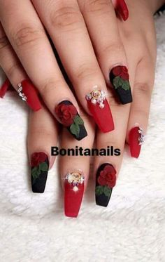 Black and red nails, wtih pearls and red acrylic roses Nail Art~! Black and red nails, wtih pearls and red acrylic roses Nail Art~! Rose Nail Design, Rose Nail Art, Red Nail Designs, Rose Nails, 3d Nails, Nails Design, 3d Nail Art, Tulip Nails, Lily Nails