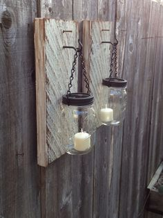 Barn wood mason jar wall sconces by Thesalvagednail on Etsy