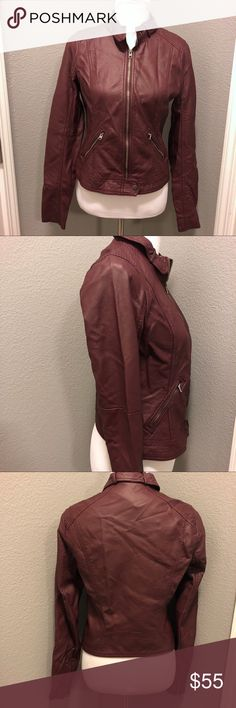 NWT Hollister Burgundy Faux Leather Moto Jacket New with tags. Hollister Burgundy Faux Leather Moto Jacket. Size Medium. Hollister Jackets & Coats