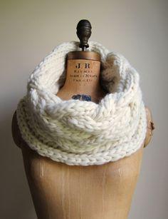 Oversized Cable knit cowl Cream. Ivory... 97 dollars via Etsy.