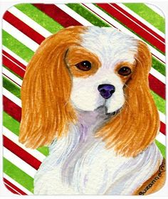 Cavalier Spaniel Candy Cane Holiday Christmas Mouse Pad, Hot Pad or Trivet
