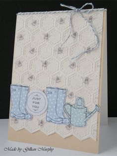 Craftwork Cards Potting Shed 2 papers, images and greeting; Crafter's Companion Embossalicious honeycomb embossing folder