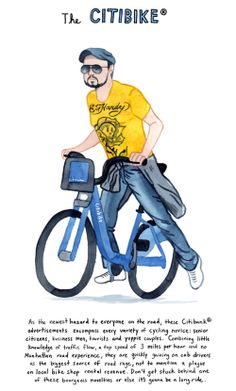 An Illustrated Taxonomy of City Bikes and Cyclist Archetypes by Kurt McRobert