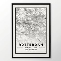 Rotterdam City Map Print Modern Contemporary poster in sizes