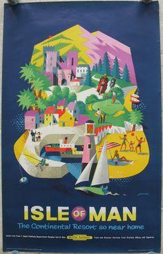 Original Railway Poster Isle of Man - The Continental Resort so near home, by Reginald Lander. Sold by originalrailwayposters.co.uk