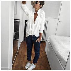 "Uniforme du jeudi : écru et pantalon Sally! • Silk Shirt #margauxlonnberg (on @shopnextdoor) • Bra #albertine (on @albertineswim) • Pant ""Sally"" #bashparis #sallygirls (on @bashparis) • Sneakers #stansmith (on @adidasfr) ..."