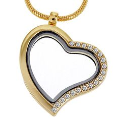 RUBYCA Living Memory Heart Locket Snake Chain Necklace Crystal Floating Charm DIY Gold Tone 5Pcs *** Want additional info? Click on the image.