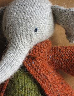 Elijah the Elephant with Rowan Felted Tweed. and a jacket! Knitting For Kids, Knitting Projects, Baby Knitting, Crochet Projects, Knitting Toys, Knitted Dolls, Crochet Toys, Knit Crochet, Rowan Felted Tweed