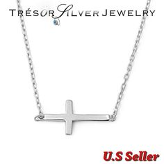sideways cross 925 sterling silver religious trendy fashion necklace womens #NecklacePendant