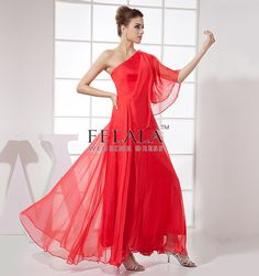 Simple Red Chiffon Princess Floor Length One Shoulder Prom Dresses