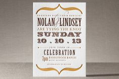 Love this wedding invitation! I would change the colors to charcoal gray and spring green.    Bold Brackets Letterpress Wedding Invitations by Teresa Lang Design at minted.com    #CupcakeDreamWedding