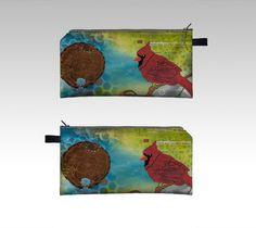 Étui à crayons nature oiseaux cardinal mixed media pochette de voyage ou trousse…
