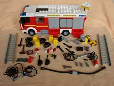 This is all the equipment that is stored inside the compartements and the driving cab. Lego City Fire Truck, Lego Truck, Fire Trucks, Lego Auto, Walmart Toys, Lego Fire, Lego City Sets, Lego Builder, Rescue Vehicles