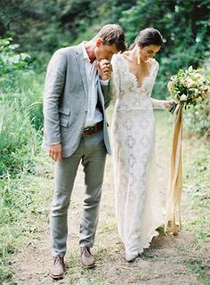 this lace dress! And the groom's styling! And the silk ribbon on the bouquet -- love it all!