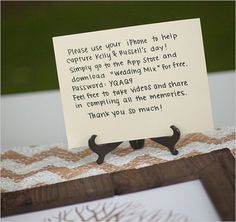 Cute DIY wedding table card ideas to tell guests about the WeddingMix wedding video app code!