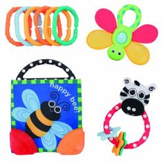 Sassy 4 Piece Newborn Rattle and Teether Gift Set by Sassy. $14.99. From the Manufacturer                Sassy Rattle and Teether Gift Set includes 4 developmental infant toys for baby to enjoy. Bright textures and colors will stimulate touch and taste. The Teether book provides texture for teething stages, with both hard and soft surfaces for baby to explore. The Dragonfly water filled teether has multiple textures to stimulate gums. Also included are the col...