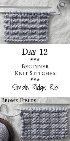 -Simple Ridge Rib Knit Stitch : Day 12 of the 21 Days of Beginner Knit Stitches :.- Simple Ridge Rib Knit Stitch : Day 12 of the 21 Days of Beginner Knit Stitches : Brome Fields : Anfängerhäkeldecke Day 12 : Simple Ridge Rib Knit Stitch : <br Knit Stitches For Beginners, Beginner Knitting Patterns, Knitting Basics, Knitting Stiches, Free Knitting, Crochet Stitches, Knit Crochet, Start Knitting, Pearl Stitch Knitting