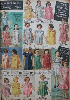 Vintage Children's Clothing Pictures & Shopping Guide children girls dresses, children clothing Vintage Kids Fashion, Vintage Outfits, 1930s Fashion, Little Girl Fashion, Fashion Sewing, Fashion Kids, Vintage Children, Vintage Kids Clothes, Photo Vintage