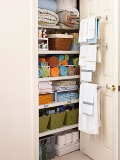 I want organization like this for the storage closet in the master bath, except with no door whatsoever Clever Closet, Smart Closet, Closet Storage, Cupboard Storage, Linen Closet Shelving, Hallway Storage, Storage Room, Cupboard Ideas, Basement Storage