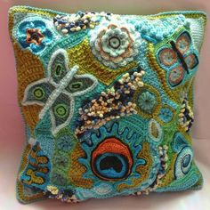 Free form crochet pillow-love!