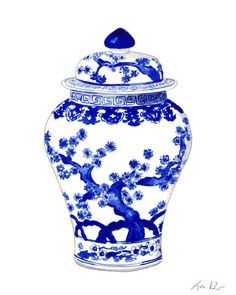 Blue and White Ginger Jar Vase No. 10 - ORIGINAL Watercolor Painting - Home Decor Porcelain Chinoiserie Chinese Antique Ceramics Ming Vase by LauraRowStudio on Etsy https://www.etsy.com/listing/236893673/blue-and-white-ginger-jar-vase-no-10
