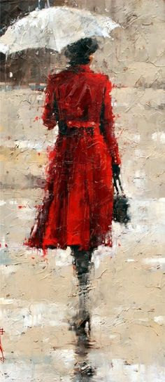 Lady in red coat with umbrella, in the rain artwork, art.