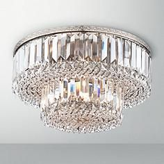 Magnificence Satin Nickel Wide Crystal Ceiling Light Would this work with the smaller by the shower and forget the sconces? Crystal Light Fixture, Crystal Ceiling Light, Ceiling Light Fixtures, Light Fittings, Lamp Light, Ceiling Lights, Satin, Chandelier Lighting, Chandeliers