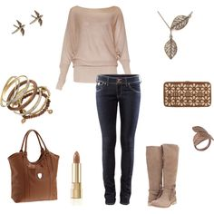 with a dash of color..like a scarf or a different color bag..this outfit would be me! :-)
