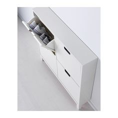IKEA - STÄLL, Shoe cabinet with 4 compartments, white, , Helps you organize your shoes and saves floor space at the same time.In the shoe cabinet your shoes get the Ikea Design, Ikea Organization, Ikea Storage, Medicine Organization, Attic Storage, Closet Storage, Hallway Lamp, Best Ikea, Home Organization
