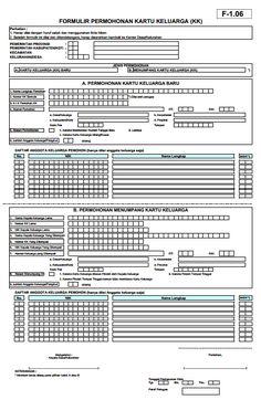F-1.06 (Formulir permohonan kartu keluarga/ KK)