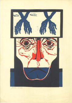 Original Linocut  Politically Engaged Art Face by CarambasVintage