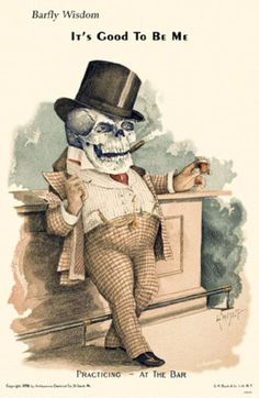 """Antikamnia Chemical Company Calendars, 1899 / 1900 - """"Practicing at the Bar"""" Vintage Halloween Images, Halloween Art, Halloween Labels, Skull Illustration, Graphic Design Illustration, Vintage Calendar, Vintage Ephemera, Vintage Ads, Skull And Bones"""