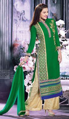 Trendy #Green #Partywear Salwar Kameez