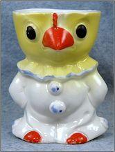 Porcelain Figural Dressed Clown Chick Egg Cup