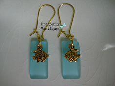 Aqua Blue Sea Glass Earrings with Small Fish/23