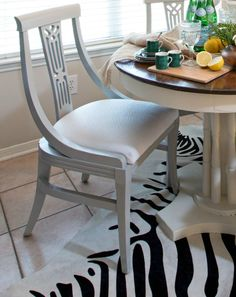 Chairs spray painted with the new Amy Howard at Home Spray Paint in color Vendome Gray.  Finish is gorgeous and it's hard to believe its spray paint.  Can't wait to try.  From Amanda Carol