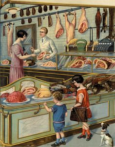 Vintage Poster - A Trip to the Butcher  Shop