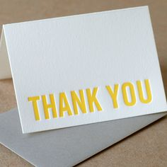 Ruby Press - Thank You Cards, Letterpress : Sunshine Yellow Modern Block Thank You Notes - box of 25 small folded cards, personalized envelope color. $45.00, via Etsy.