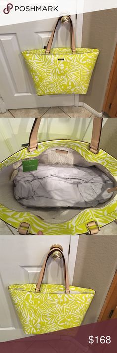 Kate Spade Tote Tropical pattern. Zippered top. Tan interior with one zip pocket and two slip pockets. Leather so cleaning will be easy. Kate Spade Bags Totes