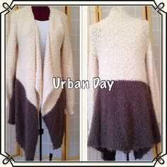 """Urban Day Open Front Sweater This sweater is so soft. It is polyester and cotton and has a popcorn weave. The sweater hangs 35"""" in front and 29"""" in back. Sleeves are 17"""" long from under arm.  Colors are beige and dark brown.  Size is S/M. Excellent condition. Urban Day Sweaters"""