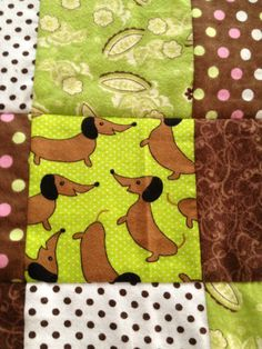 Dachshund brown and green soft flannel by Ladylovesfabric on Etsy, $75.00