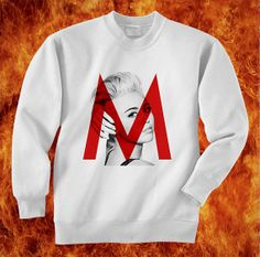 miley cyrus M logo on face sweatshirt unisex by hotteedesign, $27.00