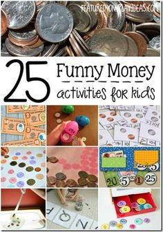 25 money games for kids - So many fun, creative ways to teach kindergarten, 1st grade, 2nd grade, and 3rd grade kids about coins, to count money, and so much more. Great for homeschool math, after school, and classrooms.