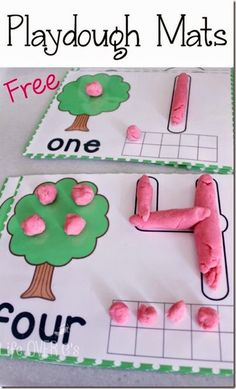 Free Apple Playdough Mats - these are so cute and great for practicing number and counting with toddler, preschool and kindergarten age kids for fall