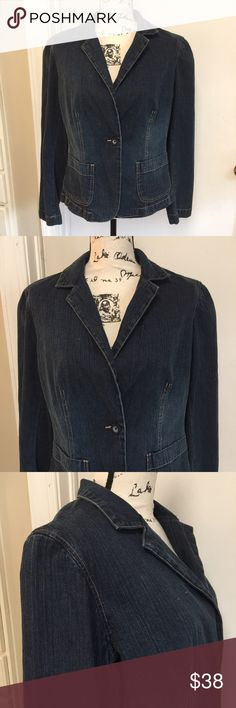 "NWT New York & Co Denim Jacket Sz 10 Denim Jean Jacket Button down with 1 front Button 2 front pockets ❣️ Pit 20""❣️Length 23"" ❣️ 99% cotton 1% spandex ❣️ New York & Company Jackets & Coats Jean Jackets"
